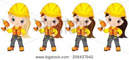 Vector cute little girls drilling. Vector little girls with various hair colors. Vector construction. Little builders vector illustration