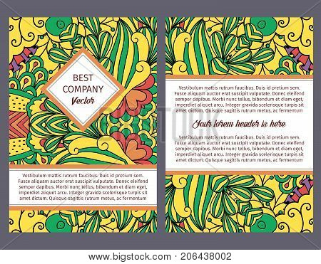 Brouchure design template for company with colorful decorative floral pattern, vector illustration