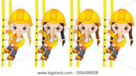 Vector cute little girls climbing up the ladders and holding drawings. Vector little girls with various hair colors. Vector construction. Little builder vector illustration