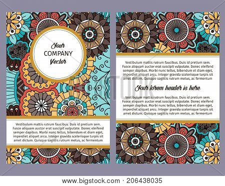 Brouchure design template for company with colorful ornamental vintage traditional colors floral decorative pattern, vector illustration