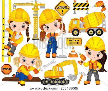 Vector construction set. Set includes cute little girls at work, tools, construction transport and road signs. Vector little builders. Construction vector illustration
