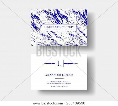 Creative modern fashioner business card, with abstract blue marble texture. Vector design concept. For stylist, makeup artist, photographer. Stylish elegant business cards template. Vector.