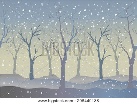 Winter Trees Background. Winter landscape with trees snow. Snow In Forest. Vector Illustration. Season Nature. Winter Holiday