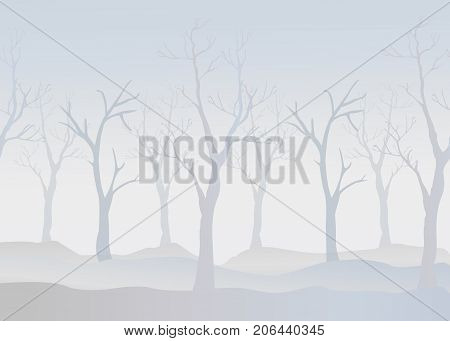 Winter Trees Background. Winter landscape with trees fog. Cloudy Foggy Day.Vector Illustration