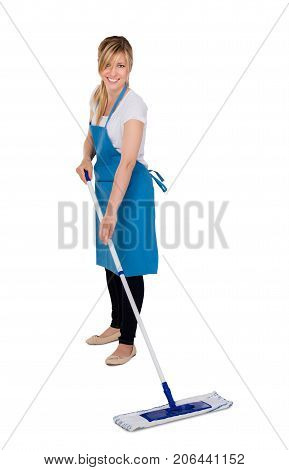 Young Happy Female Janitor Mopping Floor Against White Background