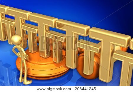 A Wall Of The Letter T Law Concept With The Original 3D Character Illustration