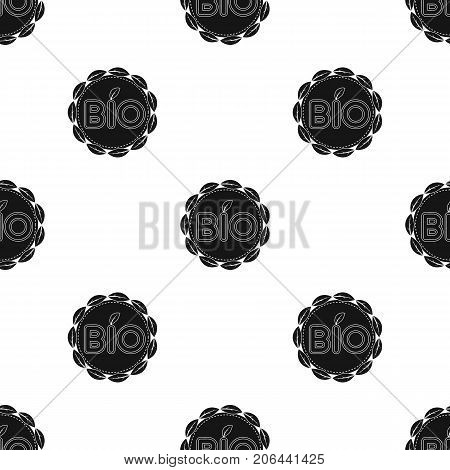 Bio label icon in black design isolated on white background. Bio and ecology symbol stock vector illustration.