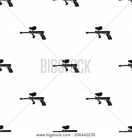 Paintball gun icon in black design isolated on white background. Paintball symbol stock vector illustration.