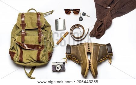 Male Fashion Accessories Flat Lay Isolated