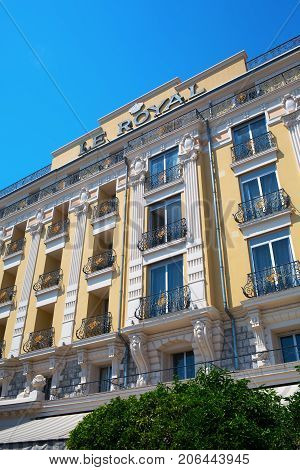 Facade Of A Luxury Hotel At The Seaside Promenade In Nice, South France