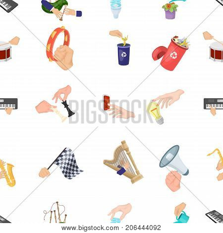 Musical instrument, garbage and ecology, electric appliance and other  icon in cartoon style. Megaphone, finishing checkered flag, gesture and manipulation with hands icons in set collection.