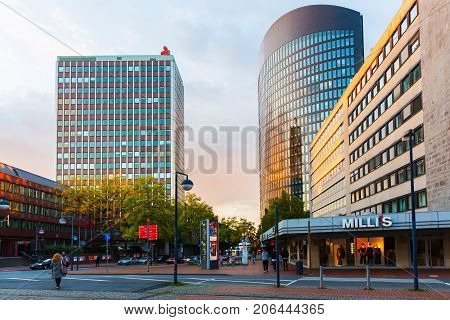 Cityscape In The City Of Dortmund, Germany, At Dusk