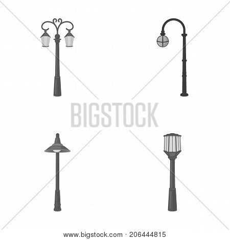 Lamppost in retro style , modern lantern, torch and other types of streetlights. Lamppost set collection icons in monochrome style vector symbol stock illustration .