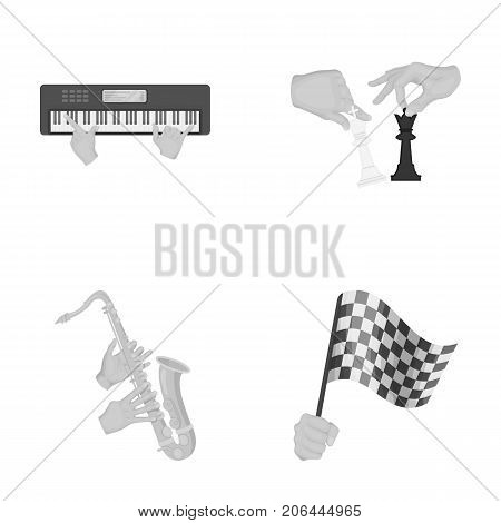 Playing on an electric musical instrument, manipulation with chess pieces and other  icon in monochrome style. playing on a gold saxophone, checkered flag of auto racing in hand icons in set collection.