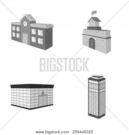 Bank office, skyscraper, city hall building, college building. Architectural structure set collection icons in monochrome style vector symbol stock illustration .