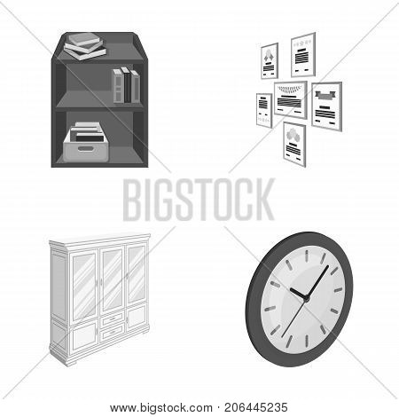 Cabinet, shelving with books and documents, frames on the wall, round clocks. Office interior set collection icons in monochrome style isometric vector symbol stock illustration .
