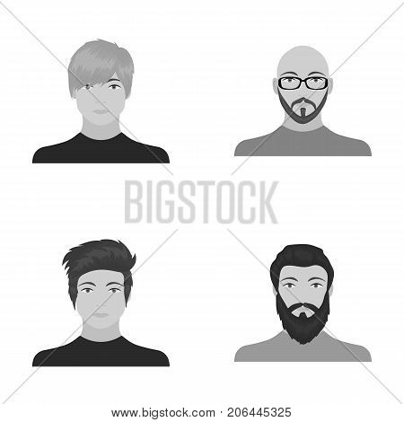 The face of a Bald man with glasses and a beard, a bearded man, the appearance of a guy with a hairdo. Face and appearance set collection icons in monochrome style vector symbol stock illustration .