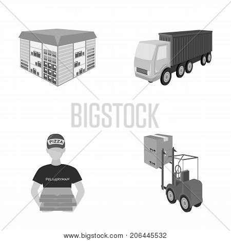 Truck, courier for delivery of pizza, forklift, storage room. Logistics and delivery set collection icons in monochrome style isometric vector symbol stock illustration .