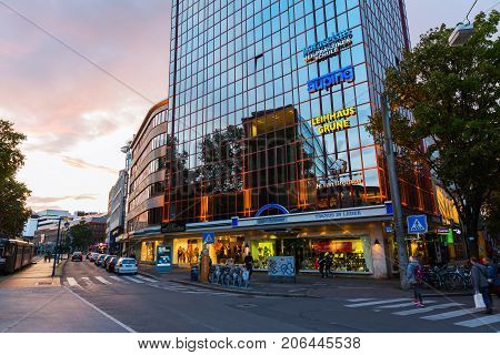 Office Tower At Dusk In The City Of Dortmund, Germany