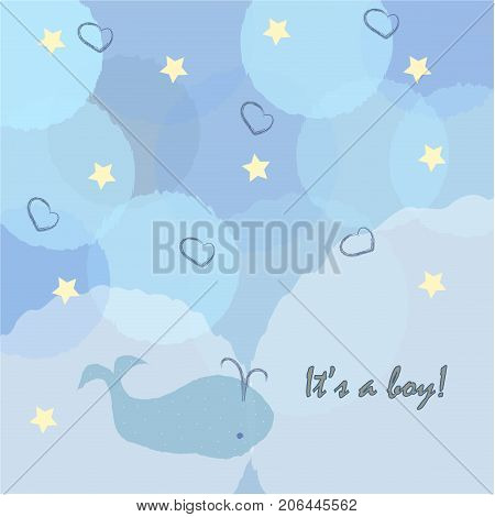 Baby Boy Birth announcement. Cute Whale announces arrival of a baby