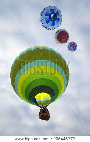 Bristol, UK: August 14, 2016: Flying the balloons at the Bristol International Balloon Fiesta. The annual event has become Europe's largest hot air balloon festival.