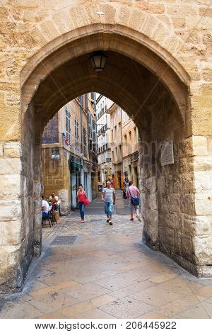 Arched Gateway In The Medieval Old Town Of Aix-en-provence, South France