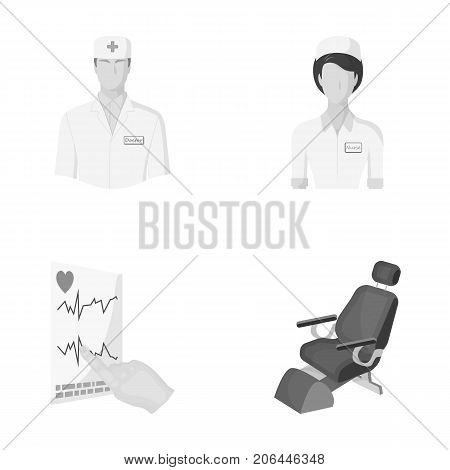 The attending physician, the nurse, the cardiogram of the heart, the dental chair. Medicineset collection icons in monochrome style vector symbol stock illustration .