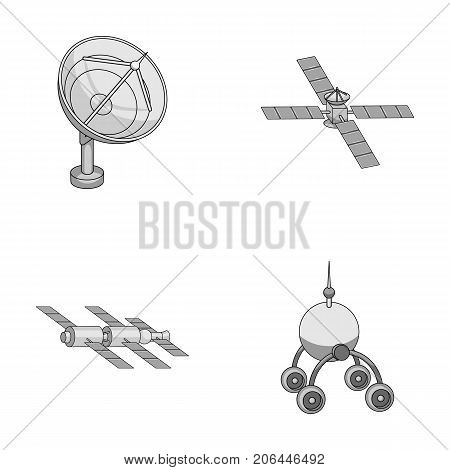 Radio radar, docking in space spacecraft, Lunokhod. Space technology set collection icons in monochrome style vector symbol stock illustration .