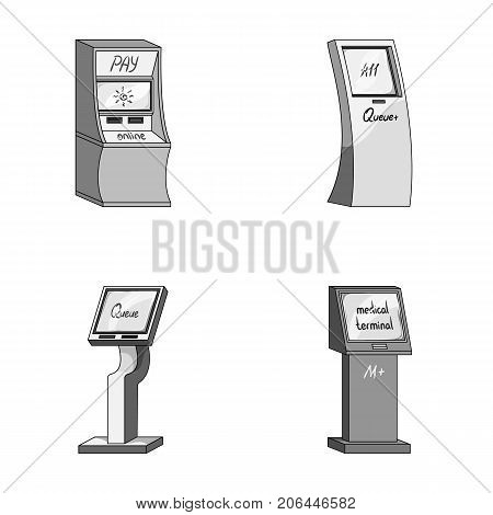 Medical terminal, ATM for payment, apparatus for queue, . Terminals set collection icons in monochrome style isometric vector symbol stock illustration .