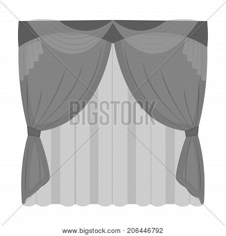Curtains, single icon in monochrome style.Curtains, vector symbol stock illustration .