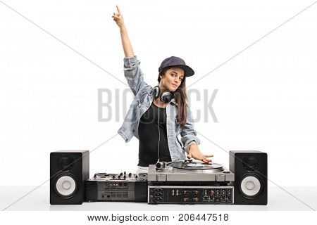 Female DJ playing music on a turntable isolated on white background