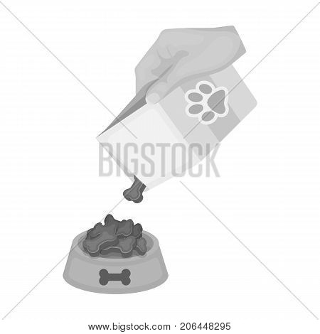 Feeding a pet, feed in a bowl. Pet, dog care single icon in monochromt style vector symbol stock illustration .