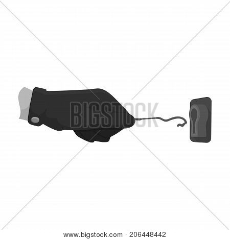 Lockpick in the hand of the criminal. Latchkey, thief tool, crime single icon in monochrome style vector symbol stock illustration .