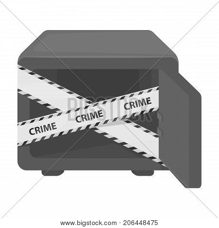 Opened safe with a protective tape. Creme, metal safe single icon in monochrome style vector symbol stock illustration .