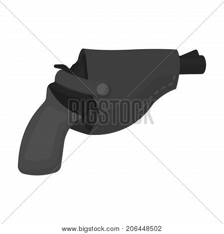 Pistol in the holster, firearms. Pistol detective single icon in monochrome style vector symbol stock illustration .
