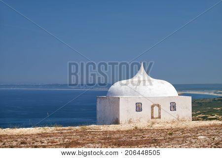 Ermida Da Memoria Or Memory Chapel Of Nossa Senhora Do Cabo Church Near Cape Espichel, Portugal