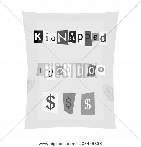 Abduction and ransom, criminal demand on the sheet. Kidnapping. single icon in monochrome style vector symbol stock illustration .