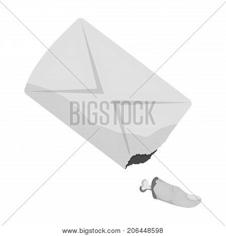 A stump of a finger, a crime..Bloodied finger phalanx single icon in monochrome style vector symbol stock illustration .