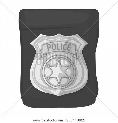 A badge, a police badge. Detective and police single icon in monochrome style vector symbol stock illustration .