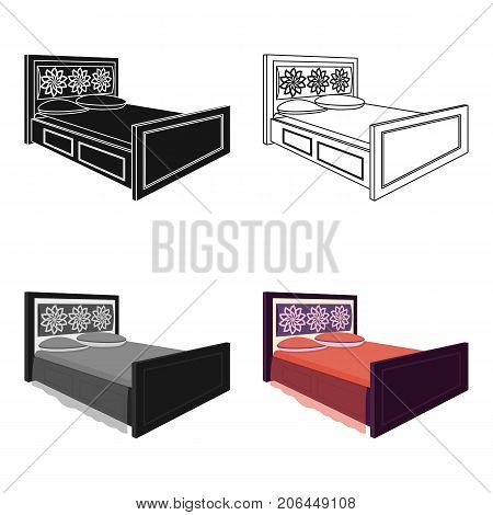 Double bed with red sheets.Bed with brown wooden headboard.Bed single icon in cartoon style vector symbol stock web illustration.