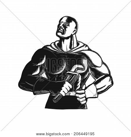 Retro woodcut style illustration of Superhero Plumber looking up holding monkey Wrench or gas grip  done in black and white on isolated background.