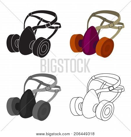 Respirator for miners. Protection from dust . Equipment of miners.Mine Industry single icon in cartoon style vector symbol stock web illustration.