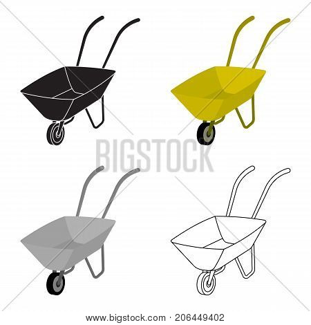 Green cart with wheel and handles. The means of transportation of small cargoes on the territory of the mines.Mine Industry single icon in cartoon style vector symbol stock web illustration.