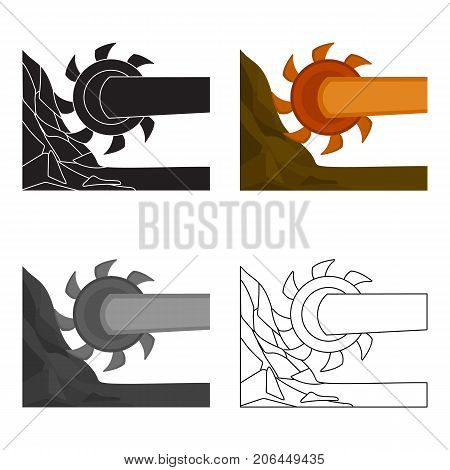 Large cutting wheel. Machine for extraction of minerals.Mine Industry single icon in cartoon style vector symbol stock web illustration.
