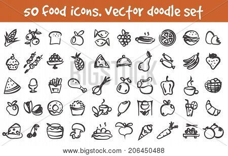Vector doodle food icons set. Stock cartoon signs for design.