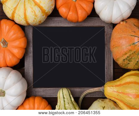Overhead view of a group of assorted Autumn pumpkins, gourds and squash surrounding a blank chalkboard.