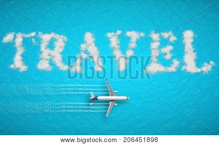 3D rendering travel concept written on tropical caribbean sea with tourism airplane fly near it holiday abstract travel concept of time of relax holiday vacations booking reservation
