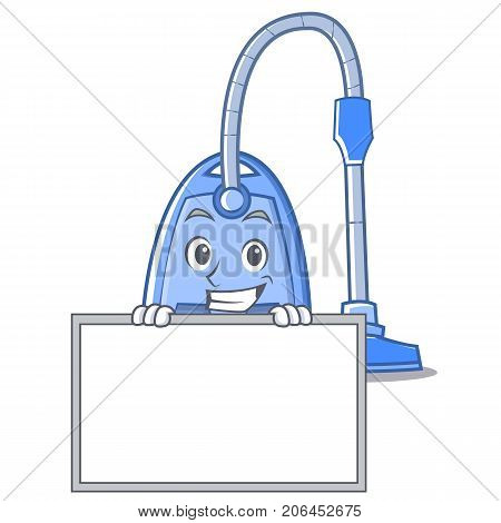 Grinning with board vacuum cleaner character cartoon vector illustration