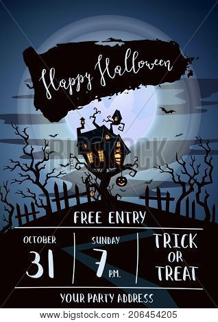 Happy Halloween party banner with spooky castle on tree in mystic forest at night under full moon. Cartoon vector illustration. Halloween background with haunted house on hill, pumpkin and flying bats