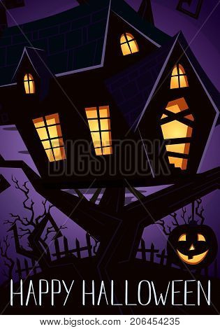 Happy Halloween party banner with spooky castle on tree in mystic forest at night under full moon, vector illustration. Halloween background with haunted house on hill and pumpkin head jack lantern